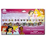 Disney Princess Sticker Earrings and Finger Rings Set - Disney Pretend Jewelery