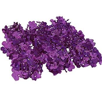 Luyue Silk Hydrangea Heads Artificial Decoration Flowers Garden Floral Decor,Pack of 10 (Dark Purple)