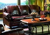 Hot Sale Sofa Couch Nail Head Trim Burgundy Tri-Tone Leather