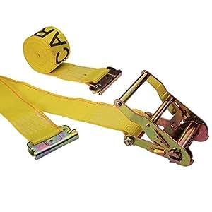 "2"" x 12' Yellow E Track Ratchet Straps w/ Spring E"