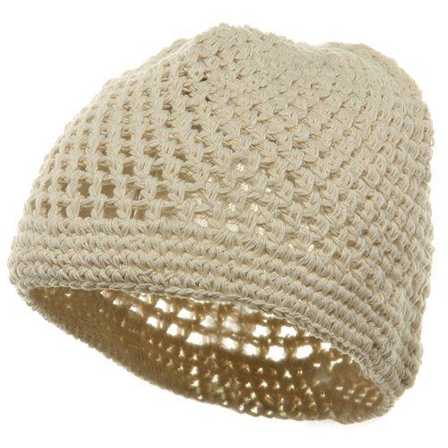Hand Crocheted Beanie (01)-Beige W16S28E