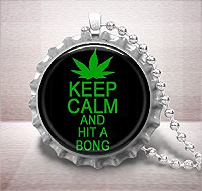Keep Calm and Hit a Bong Bottle Cap Pendant Necklace, Marijuana Cannabis Novelty Jewelry