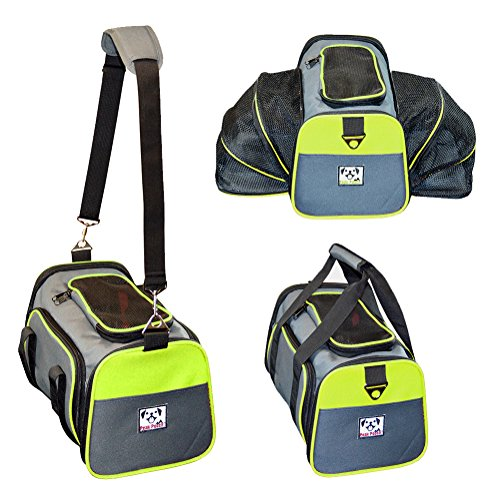 Peak Pooch – Expandable Foldable Airline Approved IATA Carry On Travel Pet Dog Cat Soft-Sided Carrier w/ Fleece Bed – Charcoal (Neon Green Trim, Small) – 16″x 9″x 9″