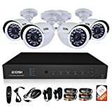 ZOSI CCTV System 8CH H.264 DVR Recorder 4x 700TVL Waterproof IR Camera CCTV System Security Camera System DVR Kit with 500GB HDD