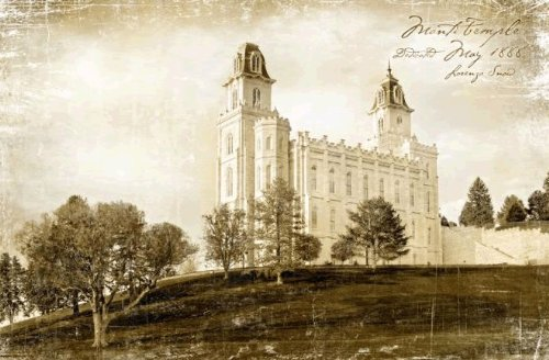 Manti LDS Temple Art Plaque with Easel