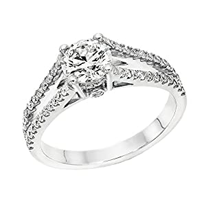 GIA Certified 14k white-gold Round Cut Diamond Engagement Ring (0.86 cttw, G Color, VS2 Clarity)