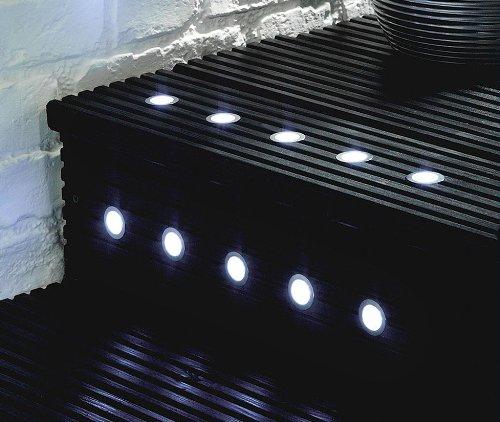 Pack of 10 - MiniSun 40mm White LED Round Garden Decking/Kitchen Plinth Lights Kit - IP67
