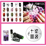 Konad Nail Art Mini Set Polish, Stamper, & Scraper + Image Plate M61 Cow Print + A-Viva Nail File