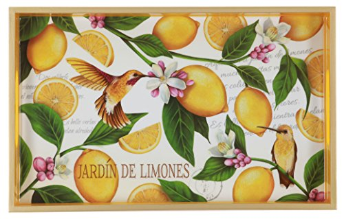Decorative Wood Vanity Tray, Lemon Garden, 12.6