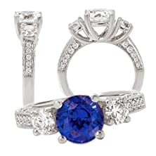 buy 18K Elite Collection Chatham Created 8Mm Round Blue Sapphire Engagement Ring With Natural Diamonds