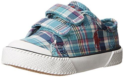 Polo Ralph Lauren Kids Chaz Ez Canvas Sneaker (Toddler),Turquoise Multi Plaid,5 M Us Toddler