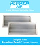 2 Hamilton Beach Air Purifier Filter Fits True Air Air Purifier 04383, True Air Glow Allergen Reducer 04385, TrueAir Compact Pet Air Purifier 04384; Compare To Hamilton Beach Filter Part # 990051000; Designed & Engineered By Crucial Air