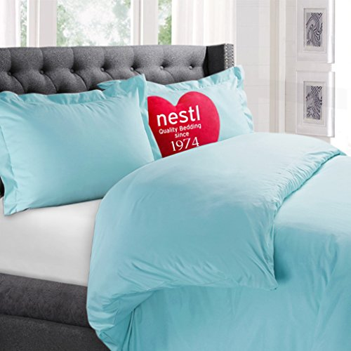 Nestl Bedding Duvet Cover, Protects and Covers your Comforter / Duvet Insert, 100% Super Soft Microfiber, Twin (Single) Size, Color Aqua Light Blue, 2 Piece Duvet Cover Set Includes 1 Pillow Sham (Twin Light Blue Bedding compare prices)