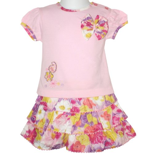 Baby Girls Rara Skirt & Short Sleeved Top with Bow 2 Piece Set (18-24 Months)