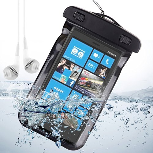 Universal Waterproof Bag Case For Nokia Lumia Icon / Nokia Xl / Nokia Lumia 630 / Nokia Lumia 929 - Black + Vangoddy White Headphone With Mic