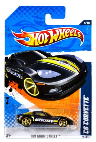 "Mattel Year 2010 Hot Wheels ""HW MAIN STREET"" Series Set (4/10) 1:64 Scale Die Cast Car (164/244) - City of Fayette Black Color Police Sports Car C6 CORVETTE (T9871) - 1"