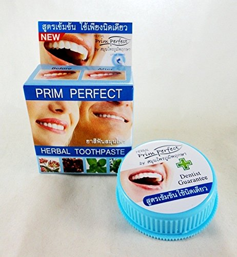 Herbal Whitening Toothpaste For Healthy Teeth Prim Perfect Reduce Plaque, Prevent Tooth Decay, Protect Teeth From Smoking 0.88 Oz. ( 25 G )