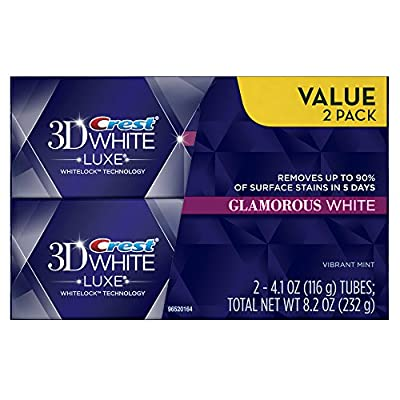 Crest 3D White Luxe Diamond Strong Brilliant Mint Flavor Whitening Toothpaste 5.5 Oz, Pack of 24