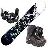 ツマ(ZUMA) 3点セット スノーボード WAVE-9 グリーン150cm 金具M/L ブーツ26cm