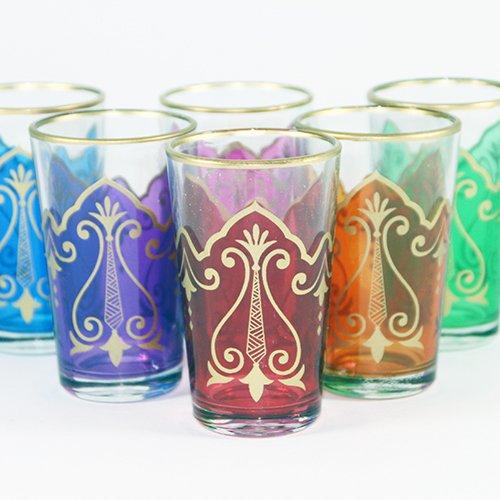 """'Oriental Nawal-10Multif Multicolore """"6verres à thé de style marocain de marrakech?: aladi nbazarcom"""
