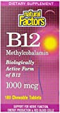 Natural Factors Methylcobalamin B12 1000mcg (1,000mcg, 180 Sublingual Tablets)