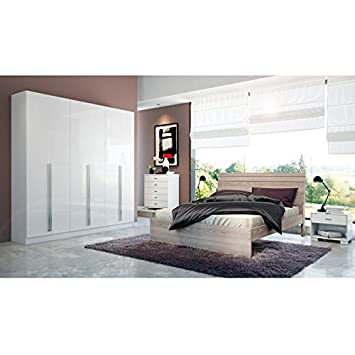 Manhattan Comfort Eldridge 6-Door Wardrobe in White Gloss