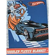 Hot Wheels Fleece Toddler Blanket Throw in Blue Black & Red (40 X 50) (Coordinated with Hot Wheels Bedding)