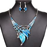 Qiyun (TM) Fashion Lake Blue Leaf Lariat Y-Necklace Chain Necklace Earrings Jewelry Set
