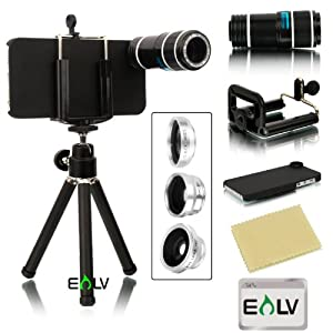 iPhone 5S, E LV iPhone 5S accessories Camera Lens Kit includes 12x Black Telephoto Manual Focus Camera Lens with Tripod / 3 Quick-Connect Lens Solution Fisheye Lens, Macro Lens, Wide-angle Lens / 1 Universal Holder / 1 Mini Tripod / 1 Protection Case / 1 Microfiber Digital Cleaner (iPhone 5S 5, Black)
