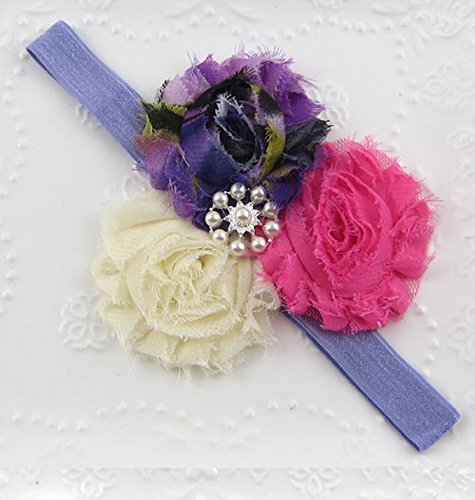 PinkXenia Diamond Rhinestone Pearl Sequin Bow Shabby Flower Newborn Soft Purple Headband