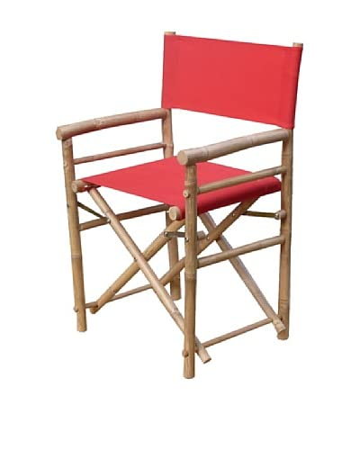 ZEW, Inc. Pair of Outdoor Bamboo Director Chairs with Interchangeable Covers, Red/White