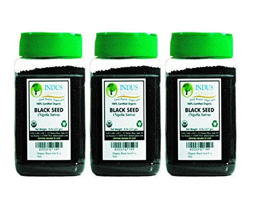 Indus Organic Black Seed, Nigella Sativa, Freshly Packed, 8 Oz (3 Pack)