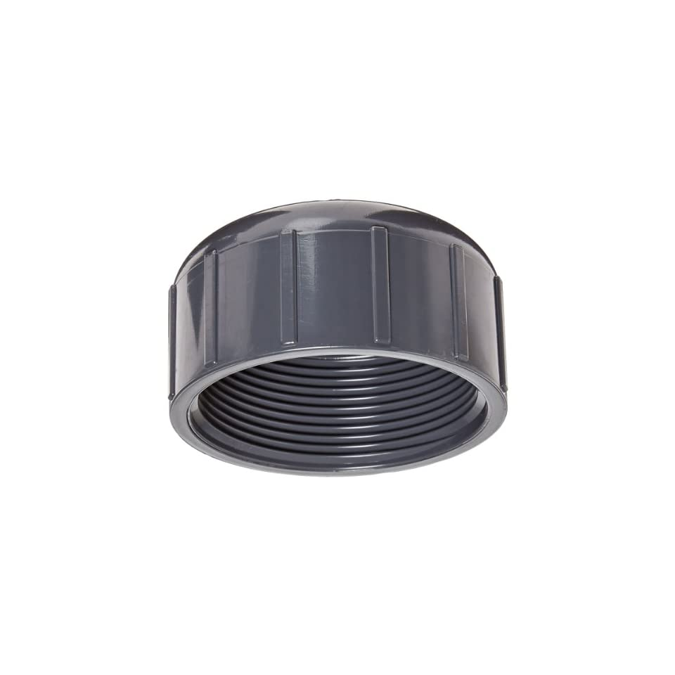 Spears 448 G Series PVC Pipe Fitting, Cap, Schedule 40, Gray, 2 NPT Female