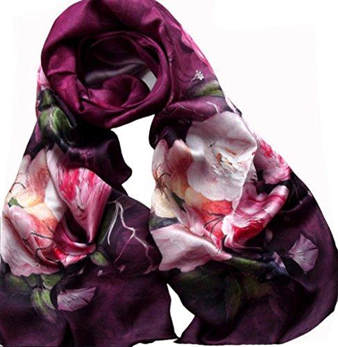 100-Luxe-Dahlia-Femmes-Foulard-en-soie-Art-Collection-longue-charpe-Chle-170-52cm