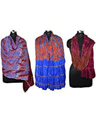 Original Pure Taffeta Silk Multi Tie & Die Hand Work Indian Dupatta Combo Pack Of 3