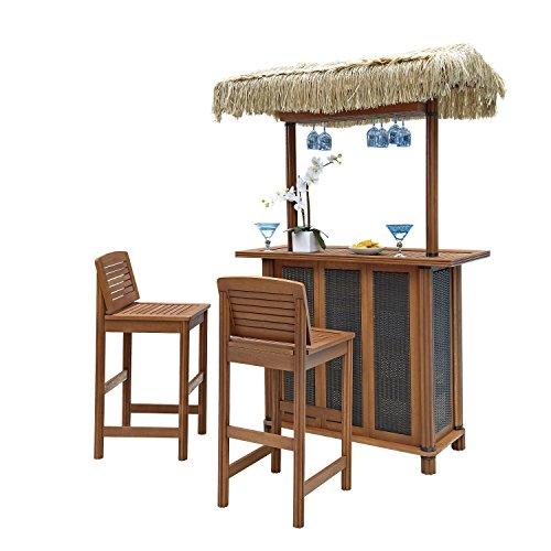 Home Styles 5662-988 Bali Hai Tiki Bar and Two Stools, Eucalyptus Finish (Outdoor Tiki Bar compare prices)