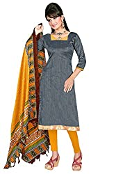 Swagpod Gold Khadi Silk Unstitched Dress Material SWAG00246