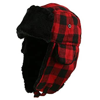 Buffalo Plaid Trooper Hat - Black Red