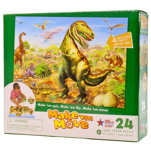 "Make'em Move Children's Dinosaur Large Floor Puzzle, 24 Pieces, 3Y+, 17.7"" x 13.3"", (T-REX ATTACK) - 1"