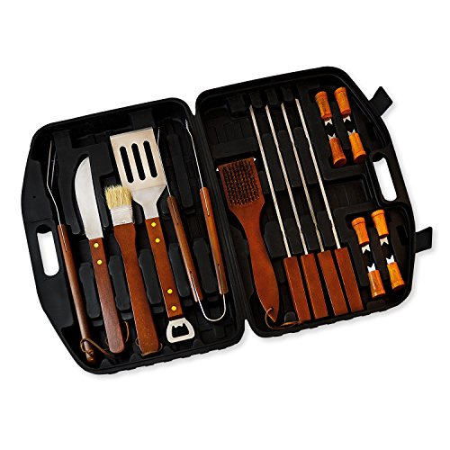 18pcs Stainless Steel Wood Handle Barbecue Bbq Tool Set