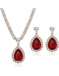 Via Mazzini 18K Gold Plated Top Quality AAA Swiss Cubic Zirconia Necklace Earrings Set For Women (NK0485)