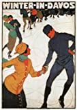 WINTER IN DAVOS Travel Poster by Burkhard Mangold - Switzerland - 1914 - A3 Matte Finish (297 x 420mm)