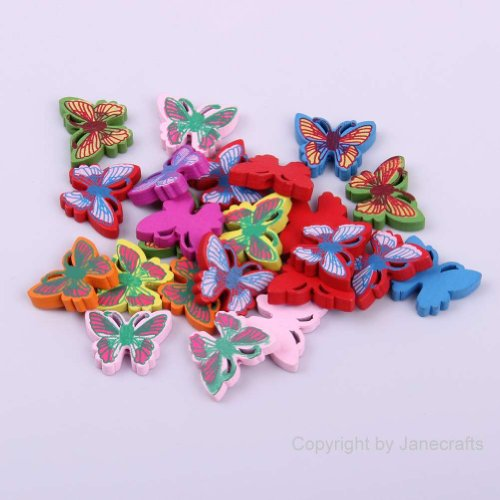 Janecrafts 300Pcs 19Mm*25Mm Colorful Wood Butterfly Button Scrapbooking Mixed Colors front-58994