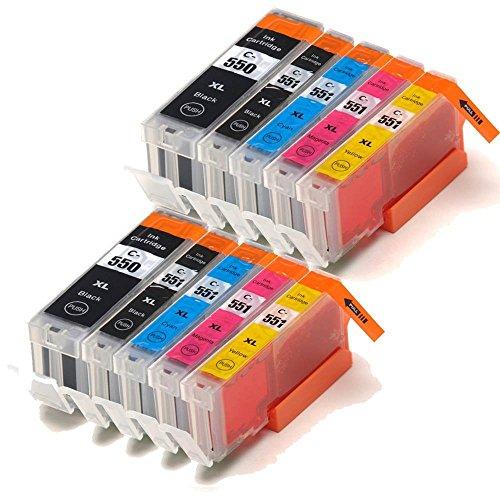 Colour Direct CLI-551XL / PGI-550XL Tintenpatronen für Canon-Drucker (kompatibel mit Canon Pixma iP7250 MG5450 MG6350 MX925) 10er Pack