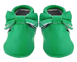 Sayoyo Baby Green Bow Tassels Soft Sole Leather Infant Toddler Prewalker Shoes (12-18 months, Green)