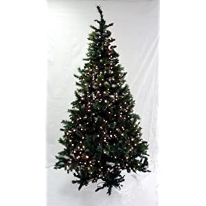 #!Cheap 6.5' Pre-Lit Frosted Mixed Pine Artificial Christmas Tree - Clear Lights