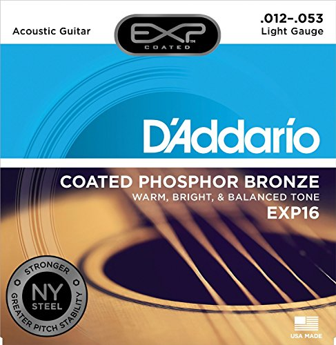 D'Addario EXP16 with NY Steel Phosphor Bronze Acoustic Guitar Strings, Coated, Light, 12-53 (D Addario Exp compare prices)