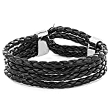Men's Black Braided Leather Multi Strap Bracelet