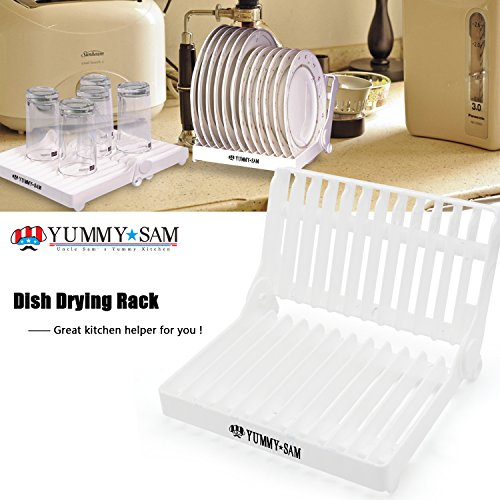 Dish Drying Rack, Yummy Sam Foldable Plate Drainer Rack Organizer, Collapsible Dish Holder for Glass, Silverware, Bowls, Plates-Useful Kitchen Utensil (Camper Plate Holder compare prices)