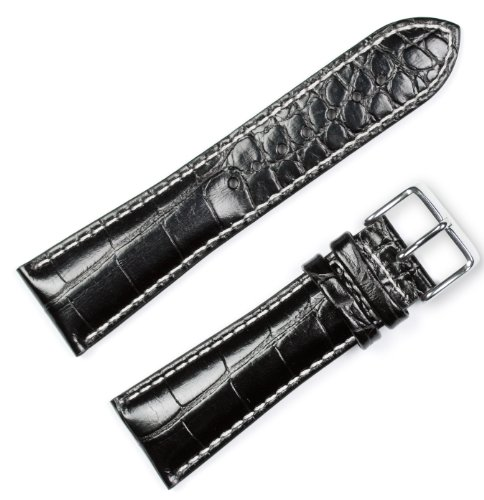 Crocodile Grain Chrono Watchband (W/ white stitching) Black 24mm - by deBeer